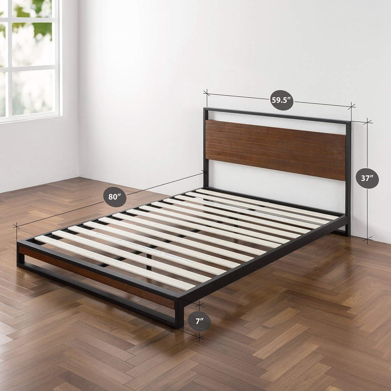 Queen size Metal Wood Platform Bed Frame with Headboard