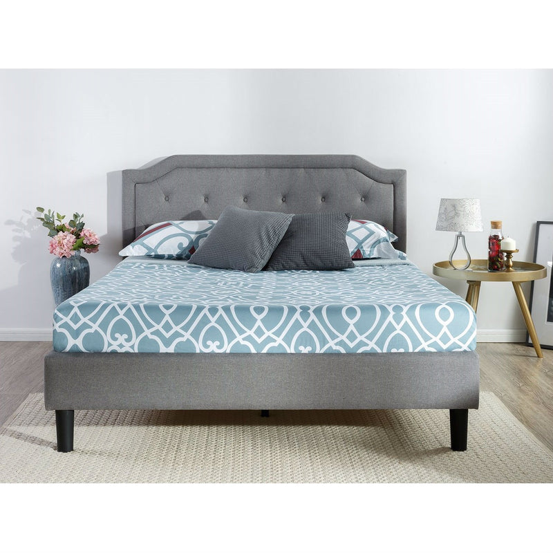 King size Grey Upholstered Platform Bed with Classic Button Tufted Headboard