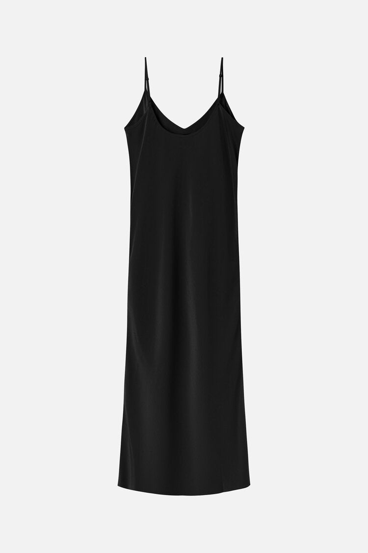 DALARY SILK SLIP DRESS BLACK