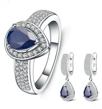 Load image into Gallery viewer, Gems Ballet Earrings and Ring Natural Blue Sapphire-Devoraels.Ltd