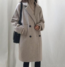 Hodisytian Winter Fashion Woolen Blend Coat-Devoraels.Ltd