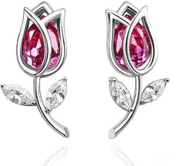 Huedsho Earrings Rosebud Design Stunning Crystal Stud-Devoraels.Ltd