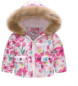 Keaiyouhuo Baby Girl Puffer Jacket Flower Printing 2-6 Years Old-Devoraels.Ltd