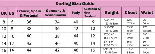 darling clothes sizing chart