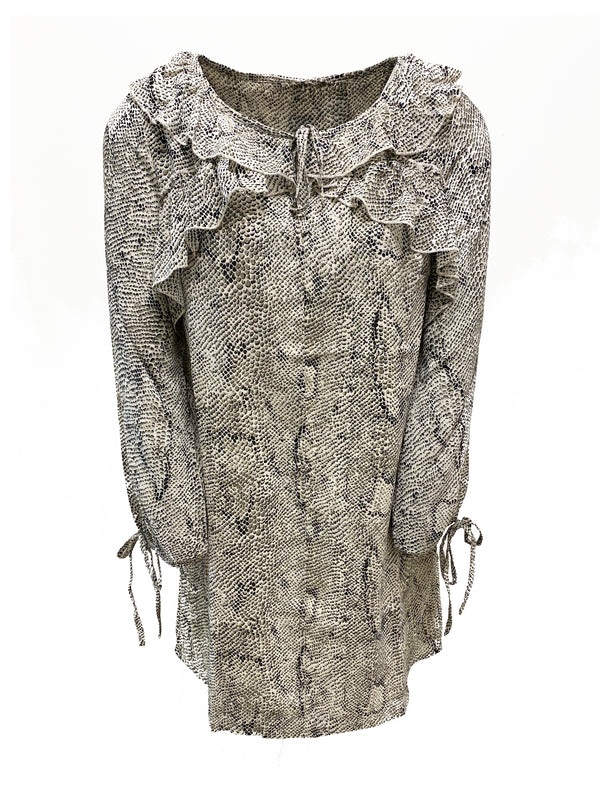 Snake Print Tie Neck Dress