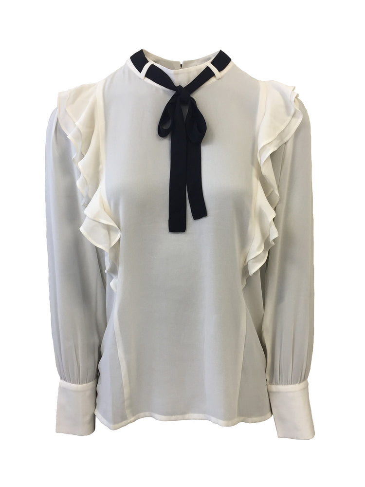 TIE BOW FRILL FRONT BLOUSE