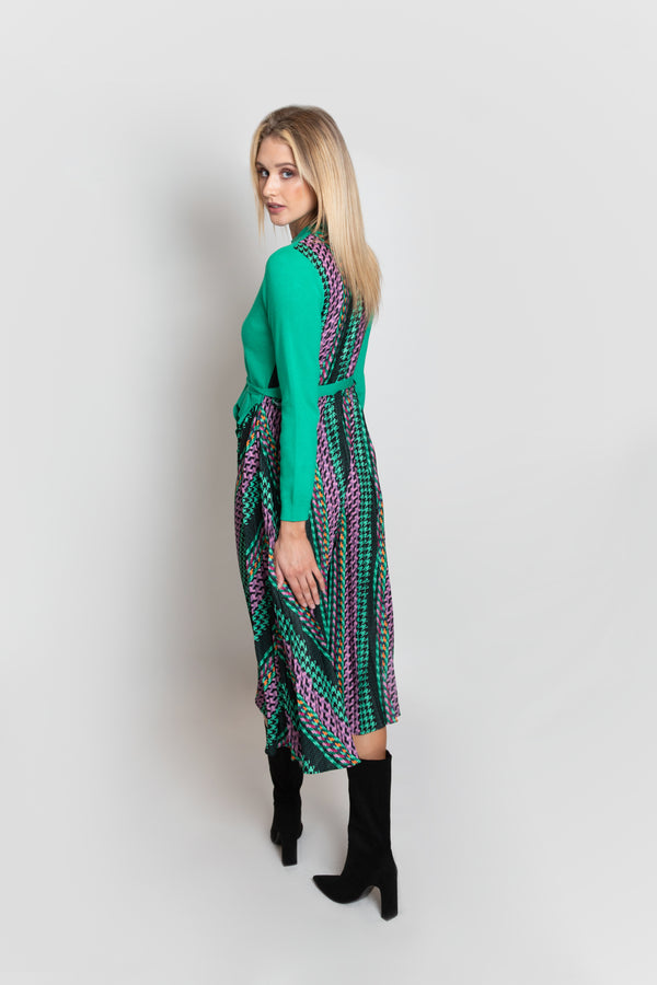 Pixel Groove Print Pleated Jumper Dress