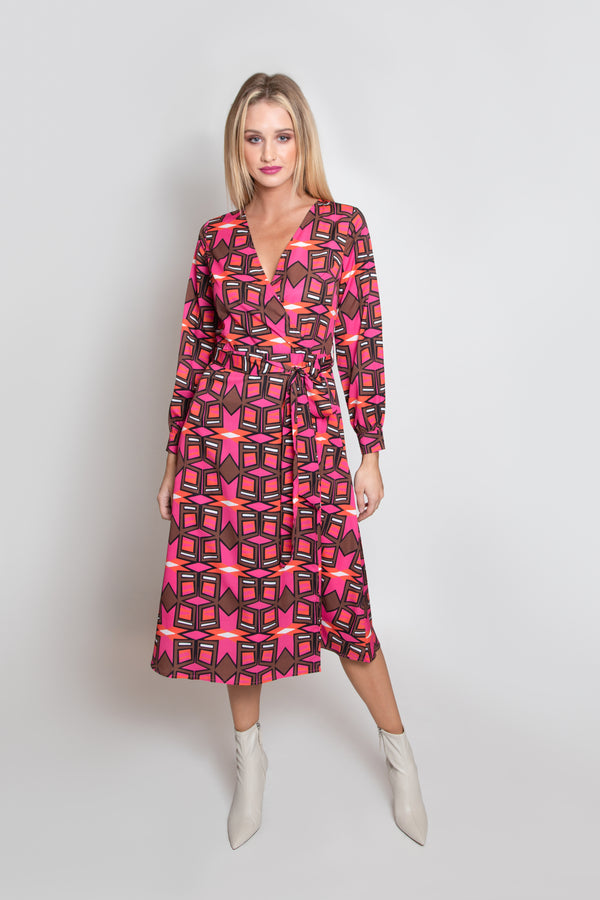 Strike A Pose Print Wrap Dress