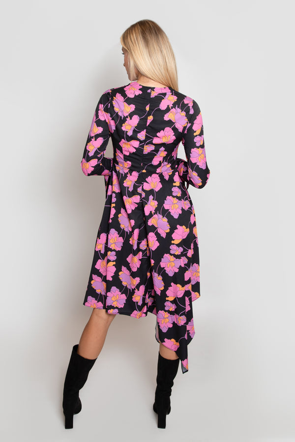 Vine Print Cuff Tie Flare Dress