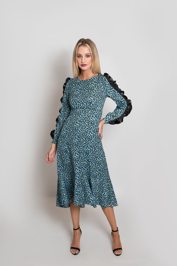 Cheetah Pop Print Statement Sleeve Dress