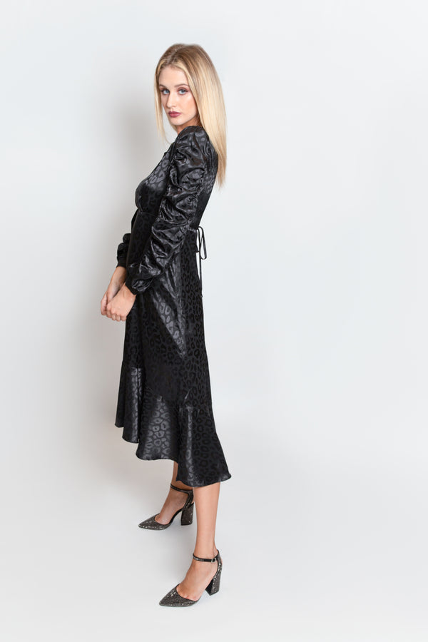 Black Leopard Gloss Statement Sleeve Dress