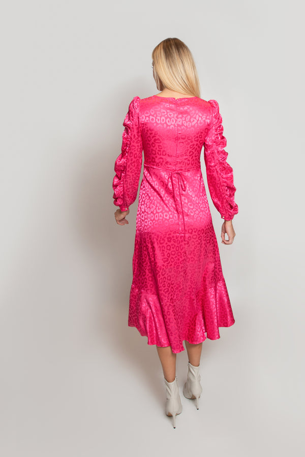Pink Leopard Gloss Statement Sleeve Dress