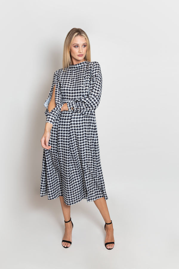Sparkle Dogtooth Print Cuff Tie Flare Dress