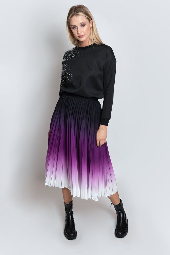 Winter Sunset Pleated Skirt