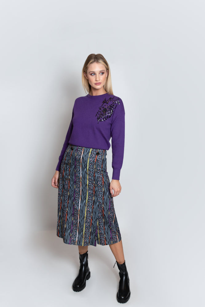 Chain Creature Print Button Skirt