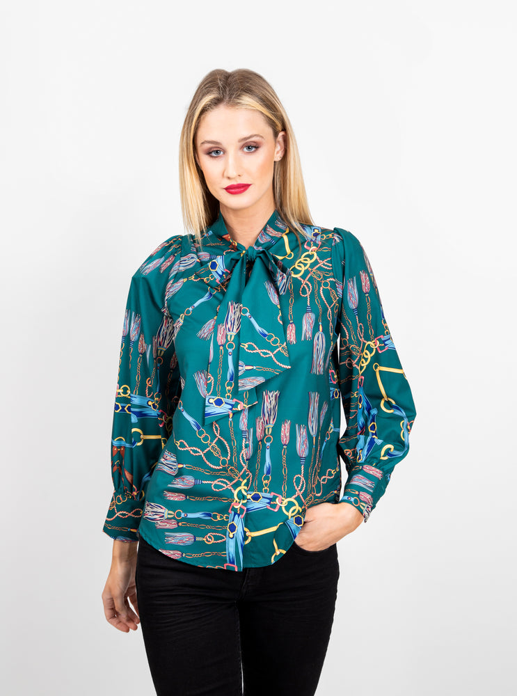 Multi Tassle Print Tie Neck Blouse