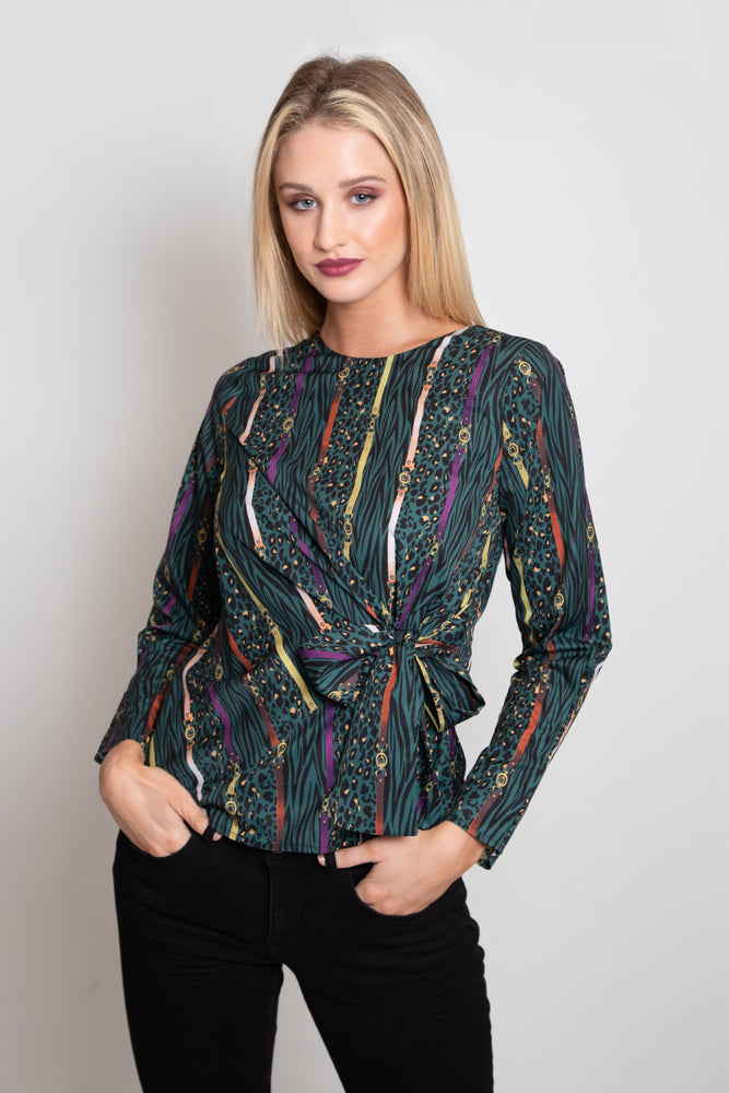 Emerald Chain Creature Print Blouse