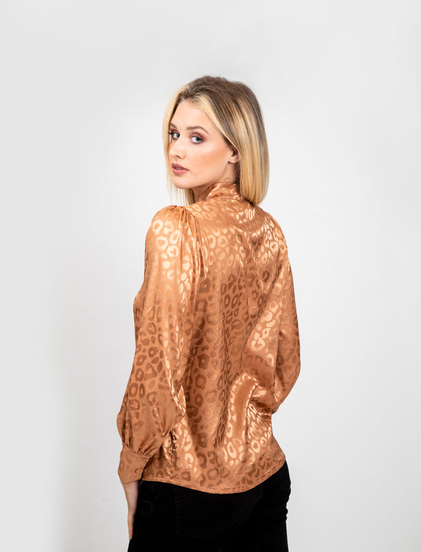 Gold Leopard Gloss Print Blouse
