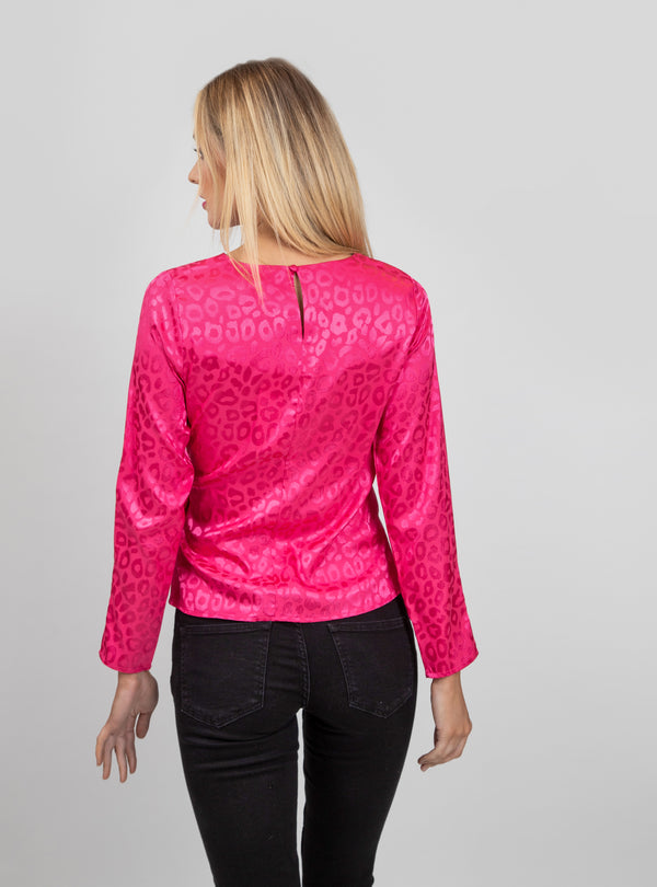 Pink Leopard Gloss Print Blouse