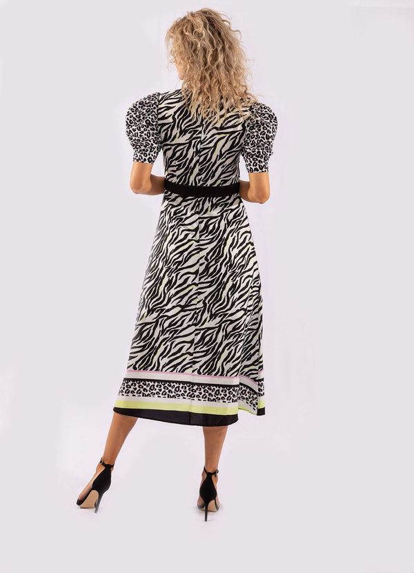 MIXED ANIMAL PRINT MIDI DRESS.
