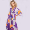 PURPLE ORANGE LINEAR PRINT MAXI DRESS.