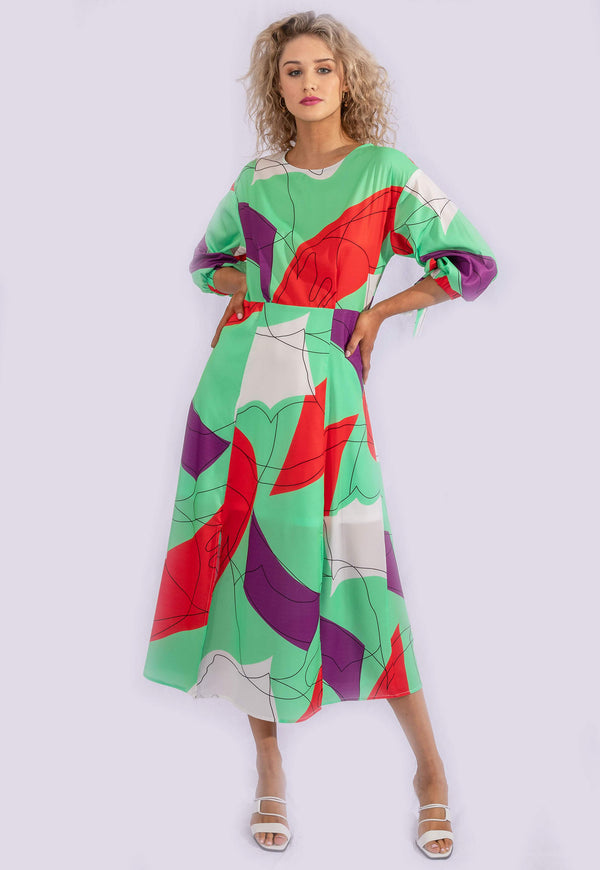 GREEN ABSTRACT PRINT MIDI DRESS.