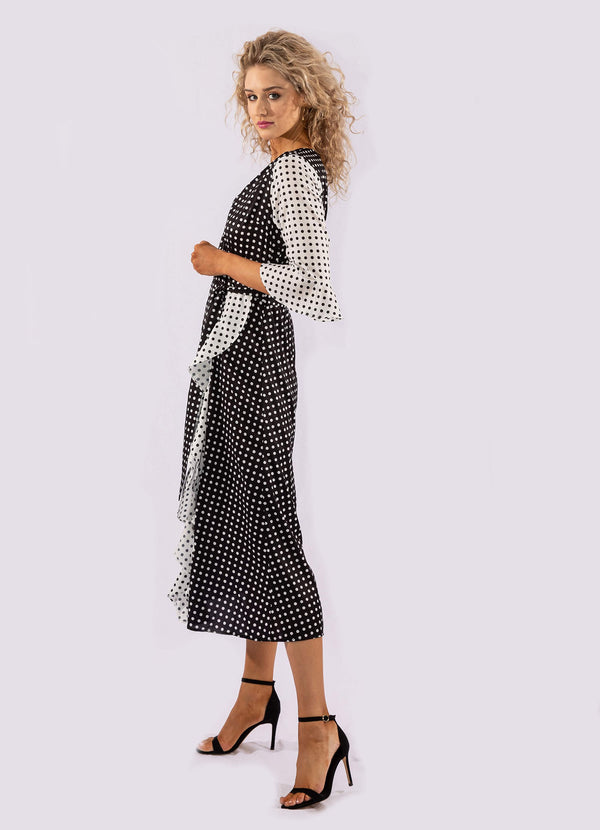 BLACK WHITE POLKA DOT WRAP DRESS.