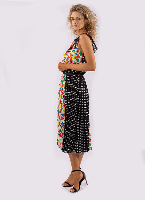 CONTRAST PARTY PRINT PLEATED MIDI SKIRT.