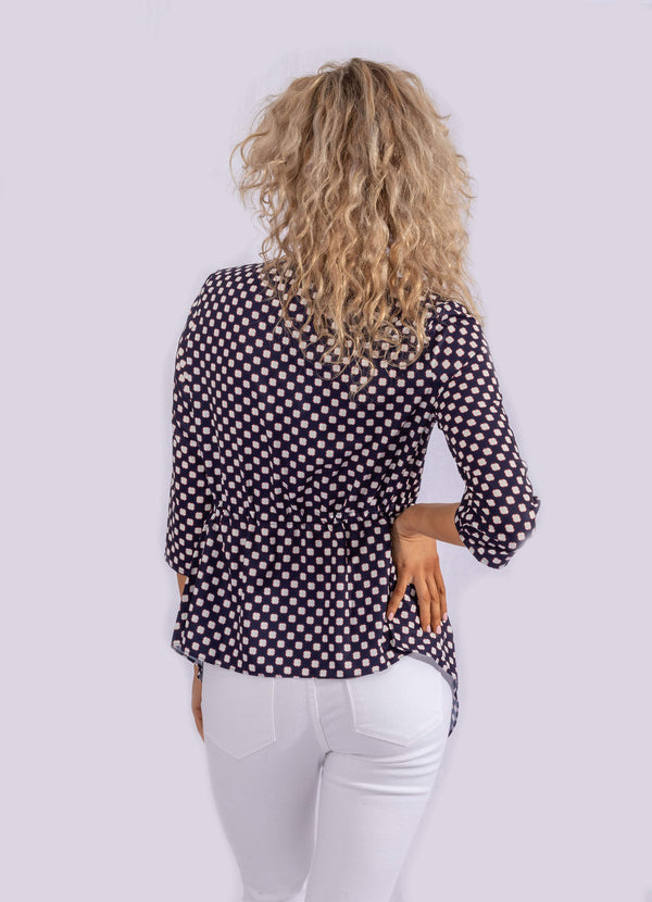 NAVY CUBE PRINT ADJUSTABLE BLOUSE.
