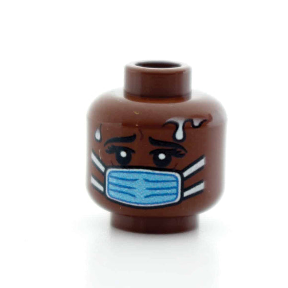 Blue Surgical Mask - Scared - Female - Brown
