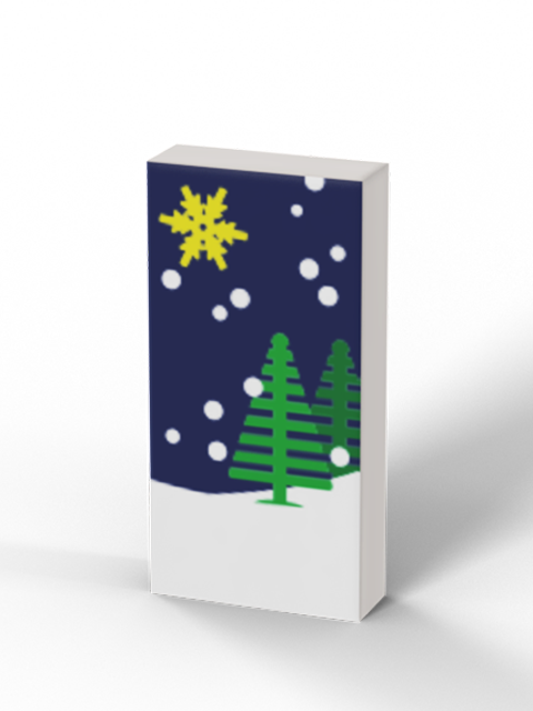 1x2 Holiday Greeting Card - Trees