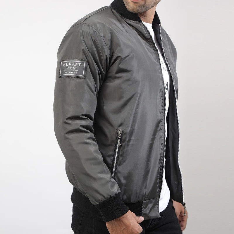 GRAY BOMBER JACKET WITH SIDE ARM PATCH