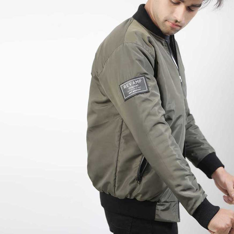 OLIVE BOMBER JACKET WITH SIDE ARM PATCH
