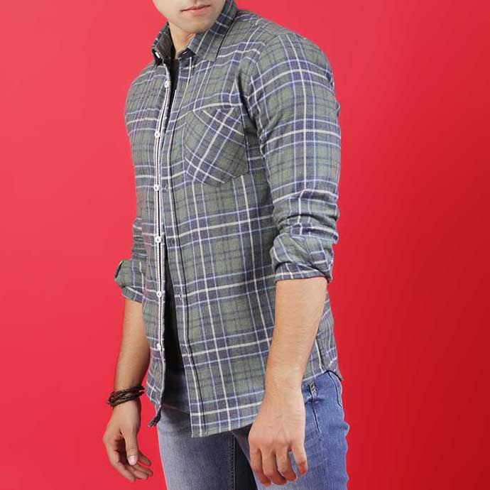 GREEN/NAVY CHECK SHIRT WITH PLACKET TAPE