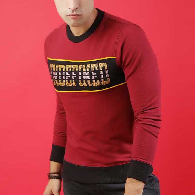 MAROON  SWEAT WITH BLACK PANEL