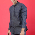 BLACK DENIM SHIRT  WITH BAND COLLAR