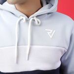 SKY, WHITE AND NAVY PANELED HOODIE