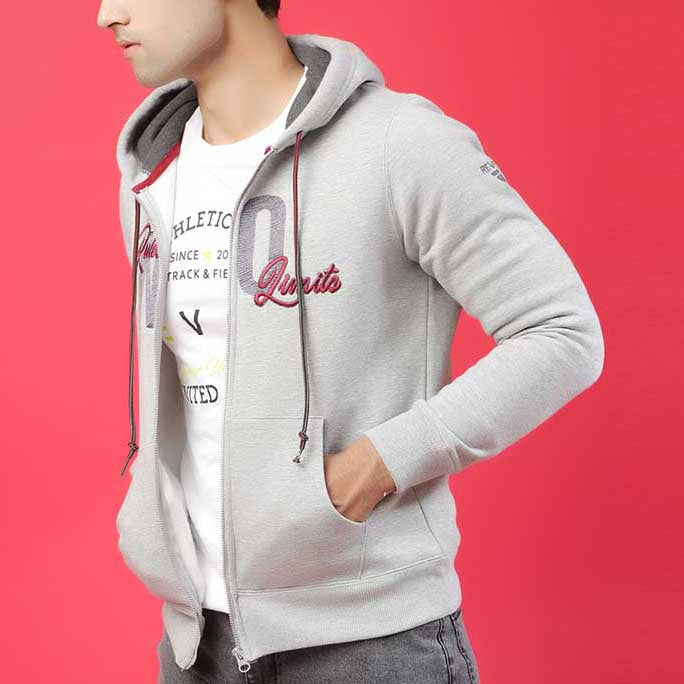 GRAY HTR HOODIE WITH CHARCOAL EMBRIODERY