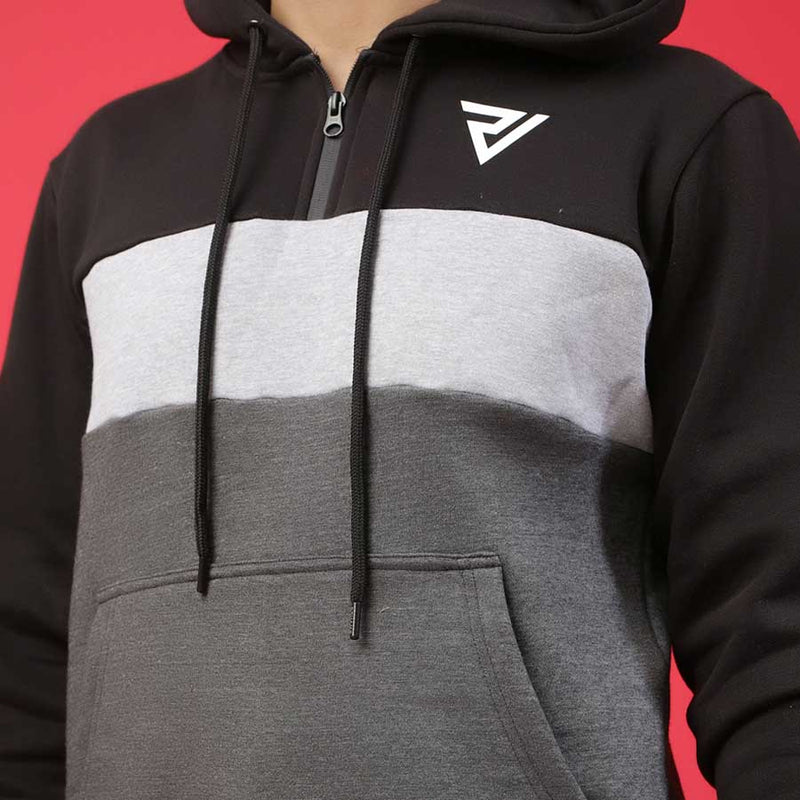 Black, White and Charcoal Paneled Hoodie
