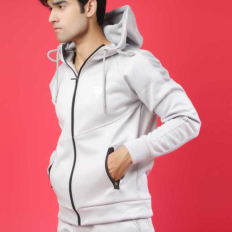 LT.GREY HOODED  WITH MESH PANEL