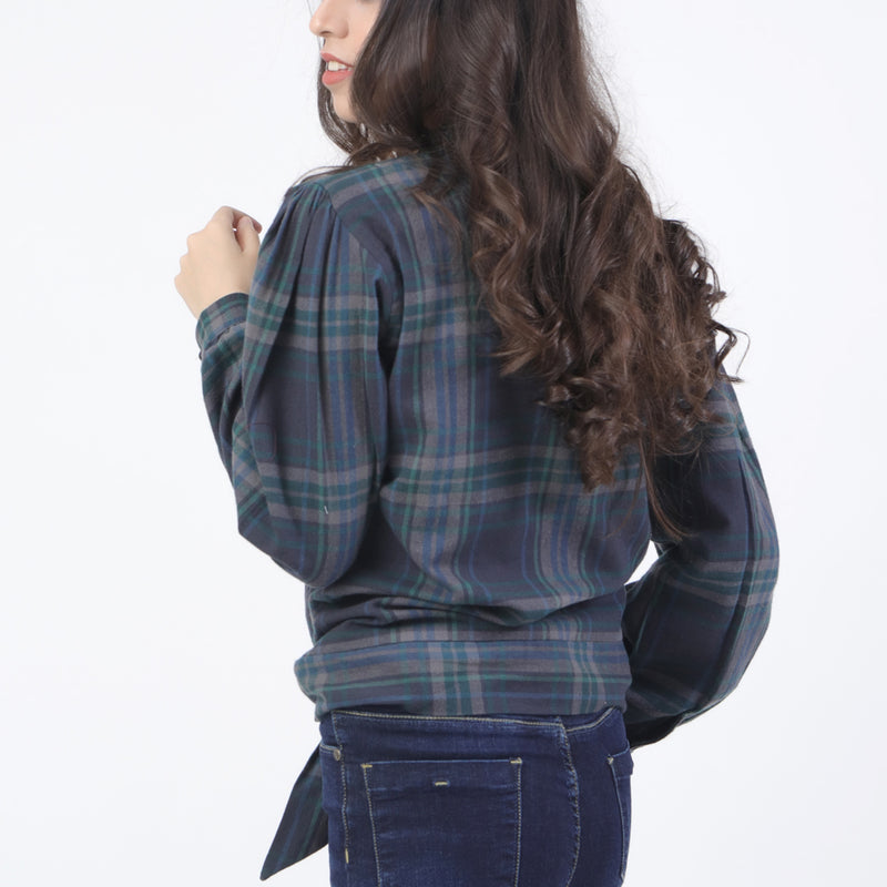 GREEN CHECK  FASHION TOP