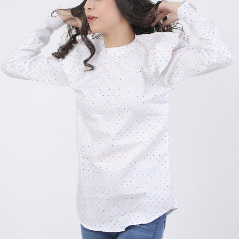 WHITE FASHION TOP WITH COLOR DOTS DESIGN