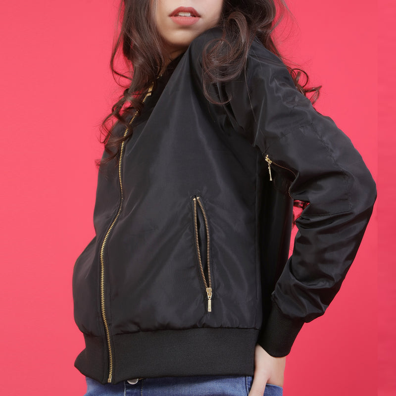 Black Bomber Jacket with Golden Zip