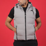 LT.GREY SLEEVELESS HOODED JACKET