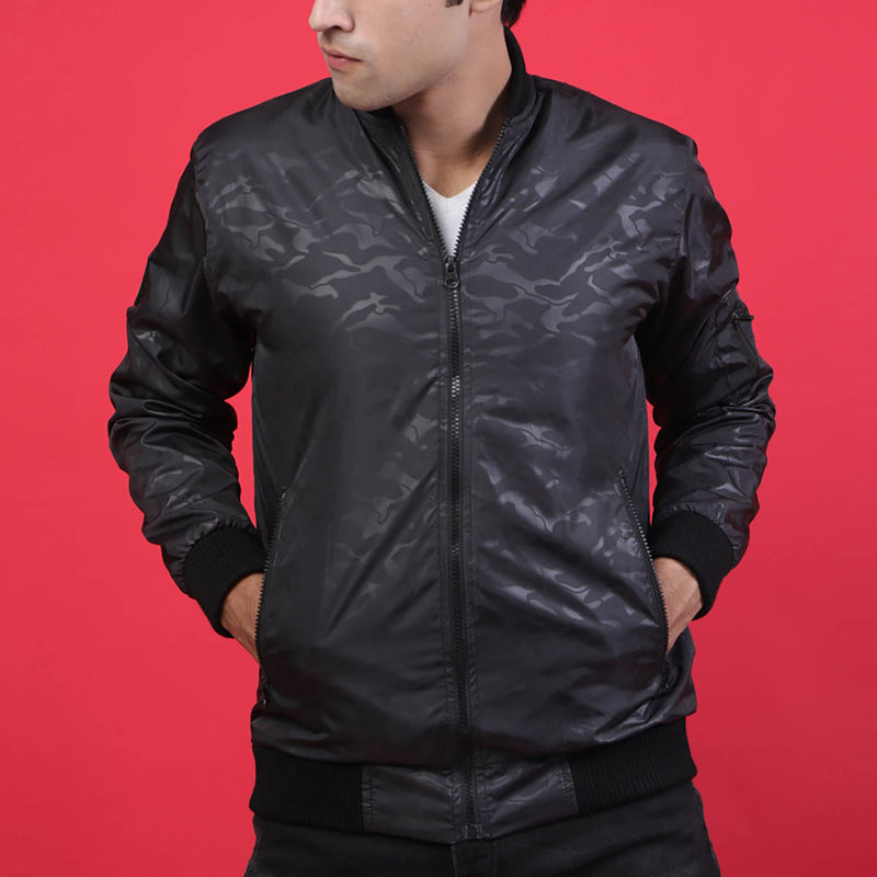 BLACK CAMO BOMBER JACKET