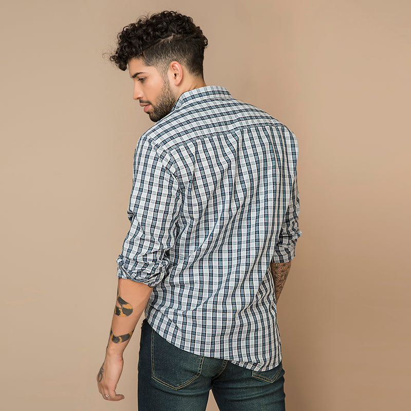 GREY CHECK WOOVEN SHIRT