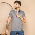 TEXTURE GREY CONTRAST COLOR POLO