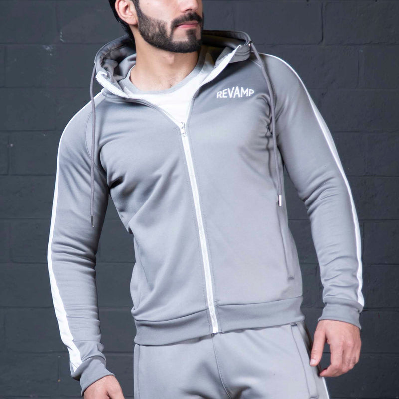 Poly Fleece Metallic Grey Hoodie