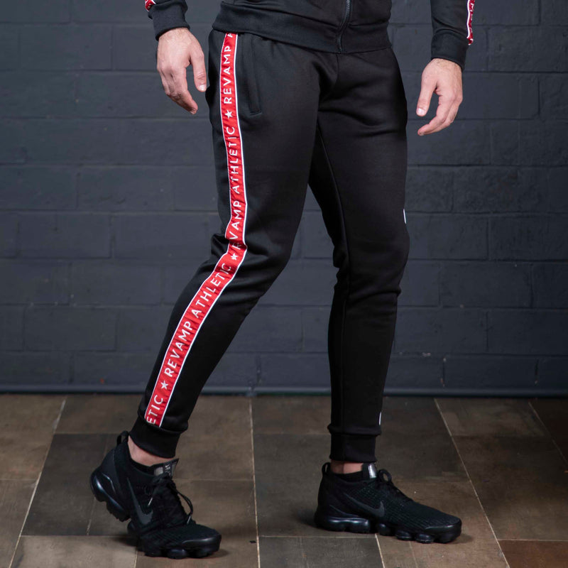 Black Poly Fleece with Red Panel Trouser