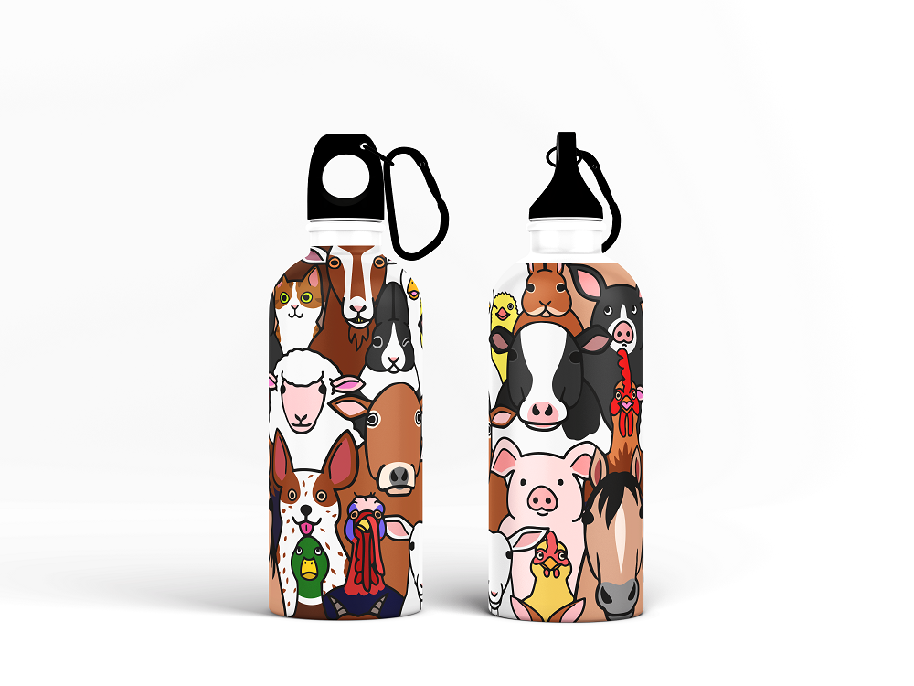 Sipper Bottle - Seamless Doodle Animal Pattern